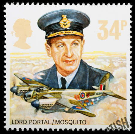 royal air force: UNITED KINGDOM - CIRCA 1986: A British Used Postage Stamp celebrating the History of the Royal Air Force, showing a Mosquito Bomber Plane, circa 1986  Editorial