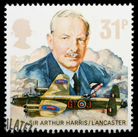 office force: UNITED KINGDOM - CIRCA 1986: A British Used Postage Stamp celebrating the History of the Royal Air Force, showing an Avro Lancaster Bomber, circa 1986