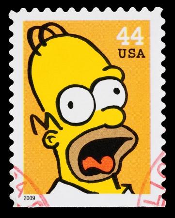 Stati Uniti - CIRCA 2009 A usato francobollo stampato negli Stati Uniti, che mostra Homer Simpson dal Simpsons TV spettacolo, intorno al 2009