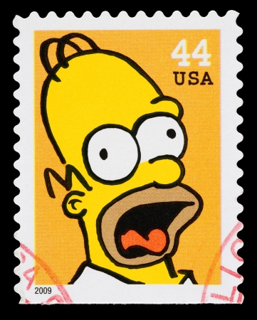 United States - CIRCA 2009  A Used Postage Stamp printed in the United States, showing Homer Simpson from the Simpsons TV show, circa 2009 Reklamní fotografie - 22687992