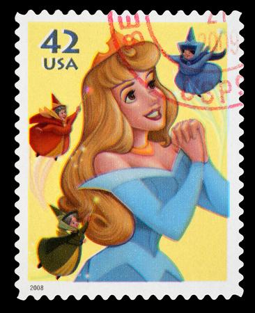 Stati Uniti - CIRCA 2008 A usato francobollo stampato negli Stati Uniti, mostrando la principessa Aurora del film Sleeping Beauty Disney, circa 2008