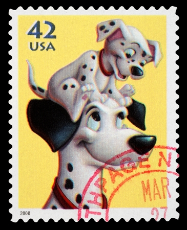 United States - CIRCA 2008  A Used Postage Stamp printed in the United States, showing Pongo and Pup from the Disney film 101 Dalmations, circa 2008 Editorial