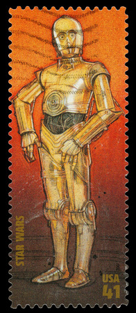star wars: United States - CIRCA 2007: A Used Postage Stamp printed in the United States, showing the Droid C3PO  from the Star Wars Films, circa 2007