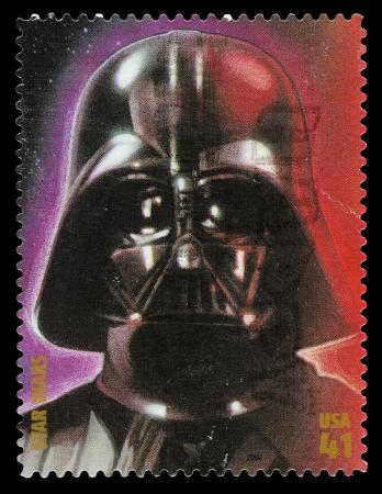 Stati Uniti - CIRCA 2007: Un francobollo usato stampato negli Stati Uniti, mostrando Darth Vader dal film di Star Wars, circa 2007 Editoriali