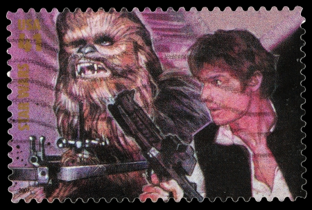 United States - CIRCA 2007: A Used Postage Stamp printed in the United States, showing Han Solo and Chewbacca from the Star Wars Films, circa 2007 Redakční