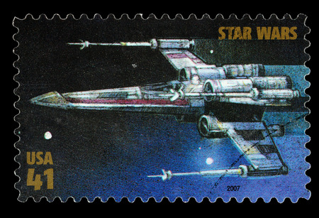 star wars: United States - CIRCA 2007: A Used Postage Stamp printed in the United States, showing an X Wing Star Fighter from the Star Wars Films, circa 2007