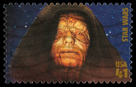 star wars: United States - CIRCA 2007: A Used Postage Stamp printed in the United States, showing Emperor Palpatine also known as Darth Sidious  from the Star Wars Films, circa 2007