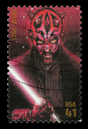 star wars: United States - CIRCA 2007: A Used Postage Stamp printed in the United States, showing Darth Maul from the Star Wars Films, circa 2007