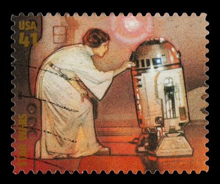 star wars: United States - CIRCA 2007: A Used Postage Stamp printed in the United States, showing Princess Leia and R2D2 from the Star Wars Films, circa 2007