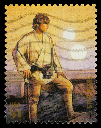 star wars: United States - CIRCA 2007: A Used Postage Stamp printed in the United States, showing Luke Skywalker  from the Star Wars Films, circa 2007