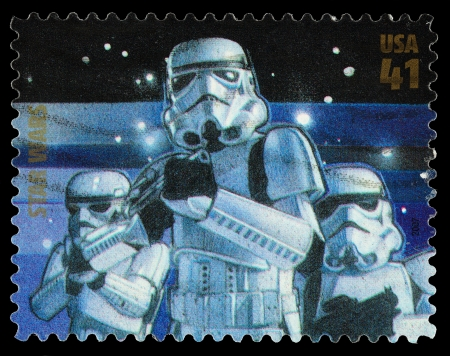 stormtrooper: United States - CIRCA 2007: A Used Postage Stamp printed in the United States, showing Storm Troopers  from the Star Wars Films, circa 2007