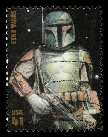 Stati Uniti - CIRCA 2007: Un francobollo usato stampato negli Stati Uniti, che mostra Boba Fett dal film di Star Wars, circa 2011