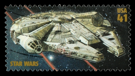 star wars: United States - CIRCA 2007: A Used Postage Stamp printed in the United States, showing the Millenium Falcon from the Star Wars Films, circa 2007
