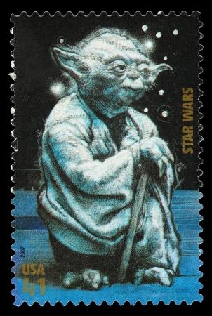 Estados Unidos - alrededor de 2007: Un sello usado impreso en los Estados Unidos, mostrando Yoda de la Guerra de las películas Star, alrededor del año 2007 Foto de archivo - 22687993