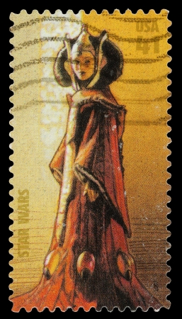 United States - CIRCA 2007: A Used Postage Stamp printed in the United States, showing Queen Padme Naberrie Amidala  from the Star Wars Films, circa 2007 Editorial