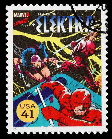 UNITED STATES - CIRCA 2007: A Used Postage Stamp printed in the USA showing the Superhero Elektra, circa 2007