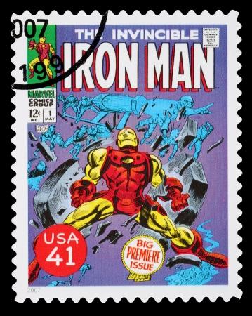TATS-UNIS - CIRCA 2007: Un timbre-poste imprimés aux Etats-Unis montrant le super-héros Iron Man, circa 2007 Banque d'images - 22688207