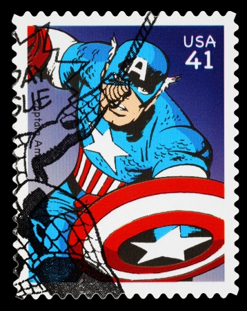 UNITED STATES - CIRCA 2007: A Used Postage Stamp printed in the USA showing the Superhero  Captain America, circa 2007