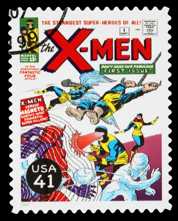 super macro: UNITED STATES - CIRCA 2007: A Used Postage Stamp printed in the USA showing the X-Men Superheroes, circa 2007