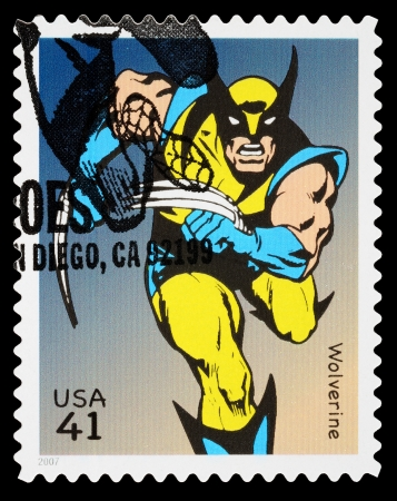 super macro: UNITED STATES - CIRCA 2007: A Used Postage Stamp printed in the USA showing the X-Men Superhero Wolverine, circa 2007