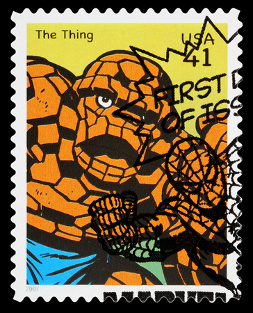 UNITED STATES - CIRCA 2007: A Used Postage Stamp printed in the USA showing the Fantastic Four Superhero The Thing, circa 2007