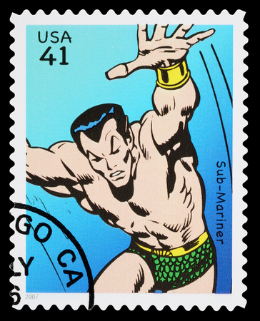 super macro: UNITED STATES - CIRCA 2007: A Used Postage Stamp printed in the USA showing the Superhero Sub Mariner, circa 2007