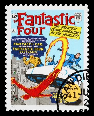 STATI UNITI - CIRCA 2007: Un francobollo usato stampato negli Stati Uniti che mostra i Fantastici Quattro Supereroi, circa 2007