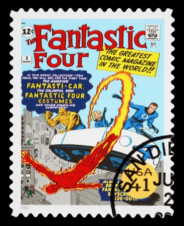 super macro: UNITED STATES - CIRCA 2007: A Used Postage Stamp printed in the USA showing the Fantastic Four Superheroes, circa 2007