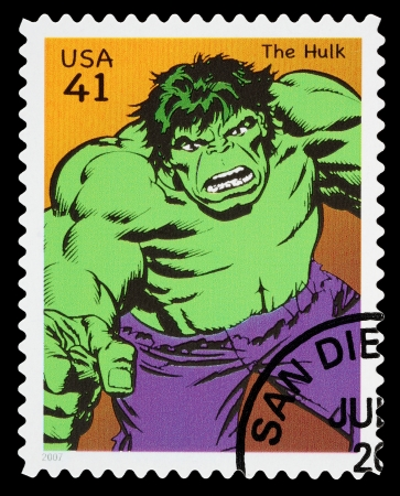 incredible: ESTADOS UNIDOS - CIRCA 2007: Un sello usado impreso en los EE.UU. muestra el superh�roe The Incredible Hulk, alrededor del a�o 2007