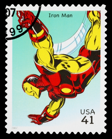super macro: UNITED STATES - CIRCA 2007: A Used Postage Stamp printed in the USA showing the Superhero Iron Man, circa 2007