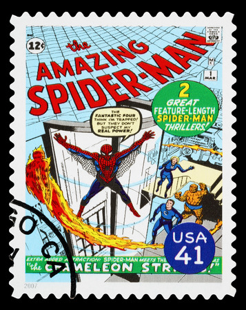 spiderman: UNITED STATES - CIRCA 2007: A Used Postage Stamp printed in the USA showing the Superhero The Amazing Spider Man, circa 2007