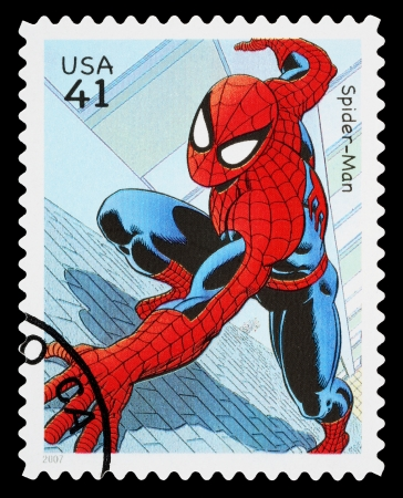 spiderman: UNITED STATES - CIRCA 2007: A Used Postage Stamp printed in the USA showing the Superhero Spider Man, circa 2007 Editorial