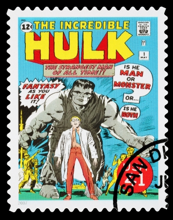 super macro: UNITED STATES - CIRCA 2007: A Used Postage Stamp printed in the USA showing the Superhero The Incredible Hulk, circa 2007 Editorial