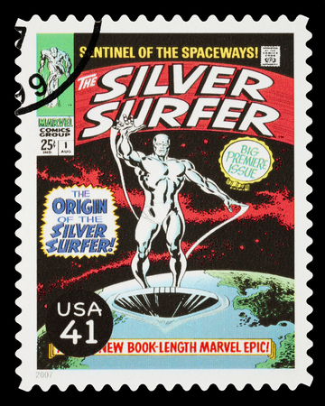 silver surfer: UNITED STATES - CIRCA 2007: A Used Postage Stamp printed in the USA showing the Superhero The Silver Surfer, circa 2007