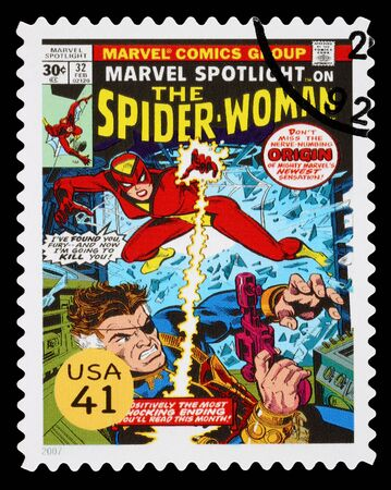 UNITED STATES - CIRCA 2007: A Used Postage Stamp printed in the USA showing the Superhero Spider Woman, circa 2007 Editorial