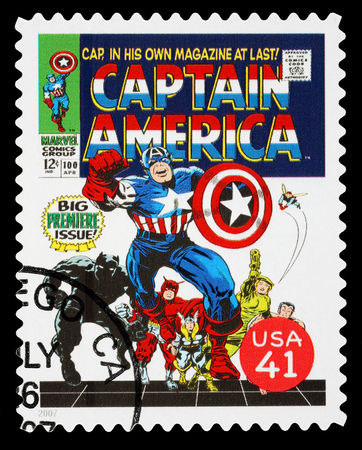 super macro: UNITED STATES - CIRCA 2007: A Used Postage Stamp printed in the USA showing the Superhero Captain America, circa 2007
