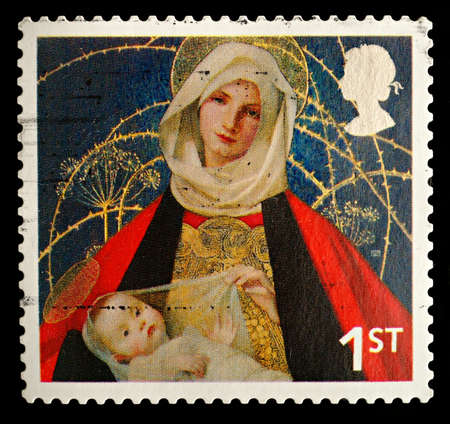 UNITED KINGDOM - CIRCA 2005: A British Used Postage Stamp showing Madonna and Child , circa 2005