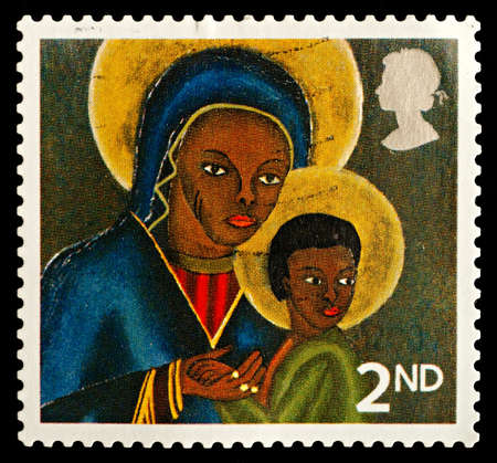 UNITED KINGDOM - CIRCA 2005: A British Used Postage Stamp showing Black Madonna and Child from Haiti, circa 2005