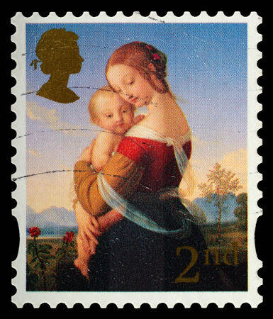 UNITED KINGDOM - CIRCA 2007: A British Used Postage Stamp showing Madonna and Child , circa 2007