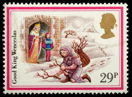 carol: UNITED KINGDOM - CIRCA 1982: A British Used Christmas Postage Stamp showing the Christmas Carol Good King Wenceslas, circa 1982