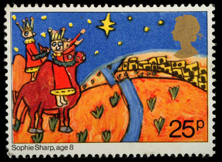 UNITED KINGDOM - CIRCA 1981: A British Used Christmas Postage Stamp showing Childrens Picture of The Three Kings Approaching Bethlehem, circa 1981