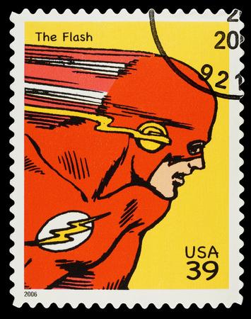 Stati Uniti - CIRCA 2006 Un francobollo usato che mostra il supereroe The Flash, circa 2006 Editoriali