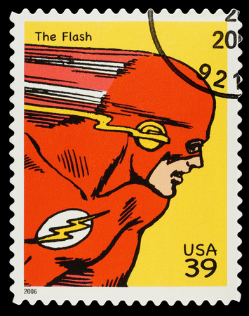 super macro: United States - CIRCA 2006  A Used Postage Stamp showing the Superhero The Flash, circa 2006