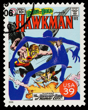 United States - CIRCA 2006  A Used Postage Stamp showing the Superhero Hawkman, circa 2006 Editorial