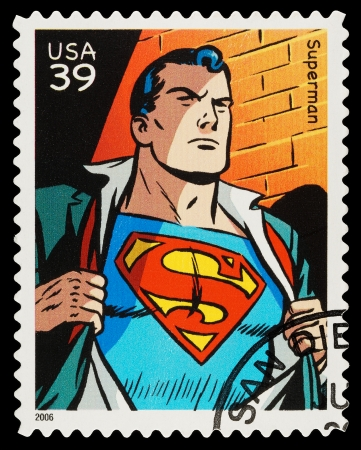 superman:                             United States - CIRCA 2006  A Used Postage Stamp showing the Superhero Superman, circa 2006