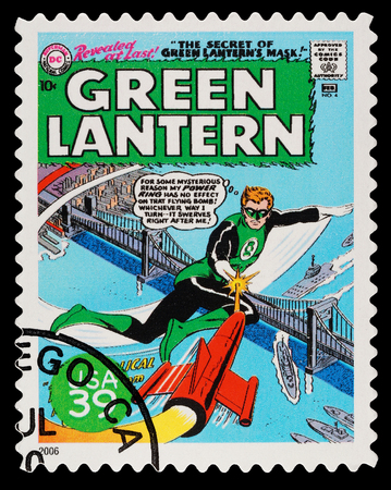 United States - CIRCA 2006  A Used Postage Stamp showing the Superhero The Green Lantern, circa 2006