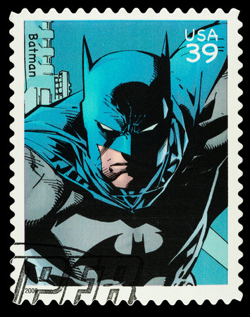batman:                      United States - CIRCA 2006  A Used Postage Stamp showing the Superhero Batman, circa 2006           Editorial