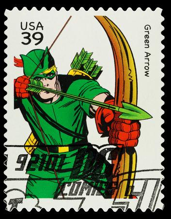 fleche verte: �tats-Unis - CIRCA 2006 Un utilis� timbre montrant le super-h�ros Green Arrow, vers 2006