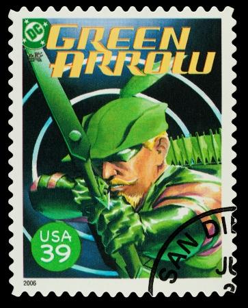 super macro: United States - CIRCA 2006  A Used Postage Stamp showing the Superhero Green Arrow, circa 2006