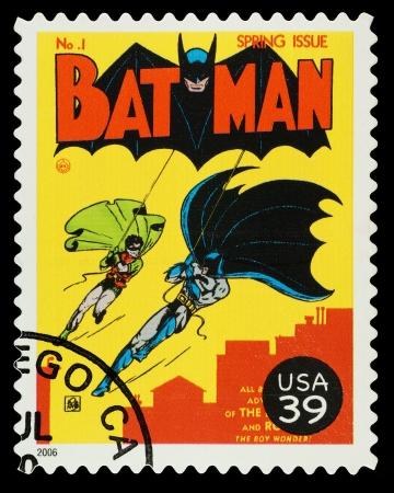 Stati Uniti - CIRCA 2006 Un francobollo usato che mostra i supereroi Batman e Robin, circa 2006